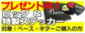 ベース・ギター本体ご購入のお客様には、Bacchusピック1枚をオマケ中!
